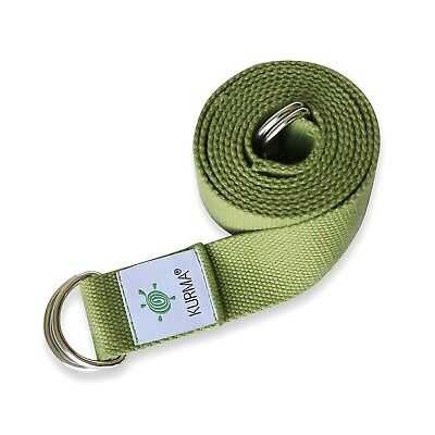 (Green) - Yoga Belt Strap and Yoga Mat Carrying Sling in one, Cotton,