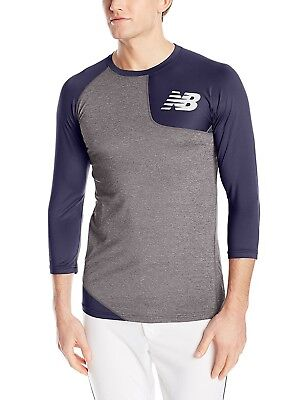 (Small, Team Navy) - New Balance Mens Asym Baseball Left Shirt. Shipping is Free