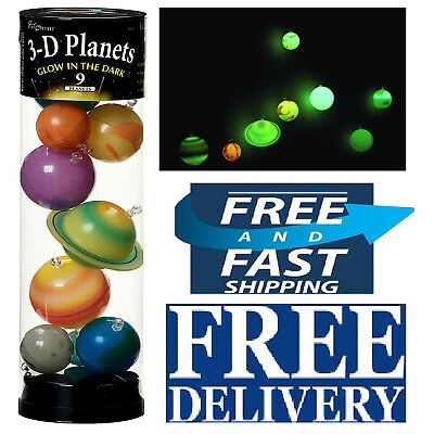 3D GLOW IN The Dark Planets Solar System Bedroom Children Hanging ...