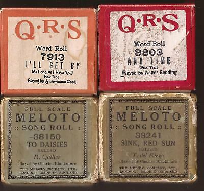 Pianola Rolls x 4 -  QRS I'll get By + Anytime + 2 more old rolls