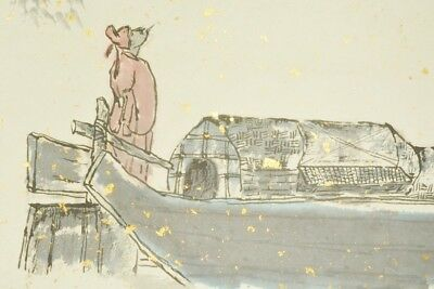 """Chinese Hanging Scroll Painting 74.4"""" boat Gold Picture Art China Antique c062"""