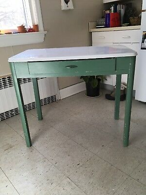 Antique Mutschler Country Farm KITCHEN TABLE 1900s PorceNamel EUC PU 07930