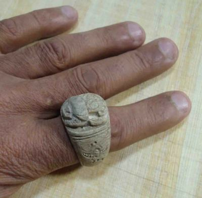 Egyptian Rare Faience Pharaoh Scarab Engraved Finger Ring Seal Hieroglyphic #30