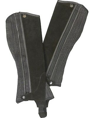 (B12-14, Black) - Ovation - Child Suede Ribbed Half Chaps. Free Shipping