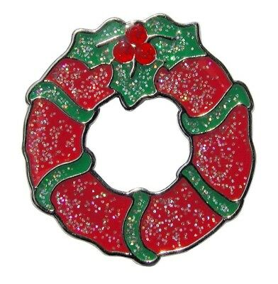 Festive Glitzy Christmas Wreath Ball Marker & Clip with. Crystal Accents. Navika