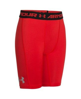 (Youth Small, Risk Red/Black) - Under Armour Boys' UA CoolSwitch Fitted Shorts