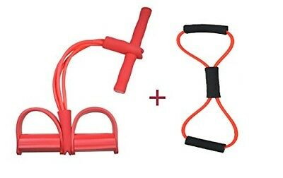 (Unremovable, Pure Red) - Do4U Home Gym Tube Exercise Fitness Expander Gym
