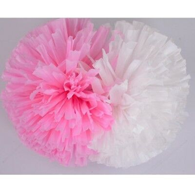(rose red/white) - Cheerleader Cheerleading PomPoms Party Costume Accessory