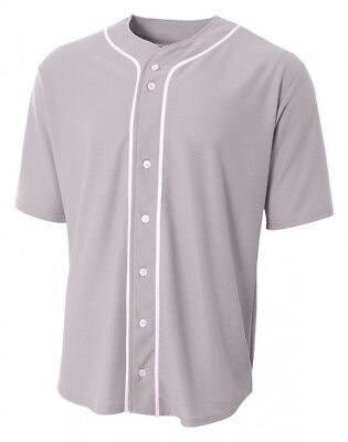 (Small, Grey) - A4 Men's Short Sleeve Full Button Baseball Top. Shipping is Free