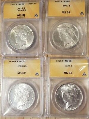 4 Graded Silver Dollars 3 Peace & 1 Morgan grades MS63, MS62, MS61, AU58 ANACS