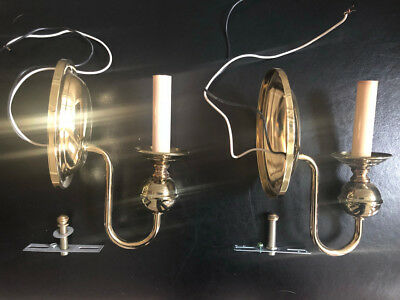 Pair Of Antique Brass Wall Sconces, Colonial Williamsburg Cambridge feel
