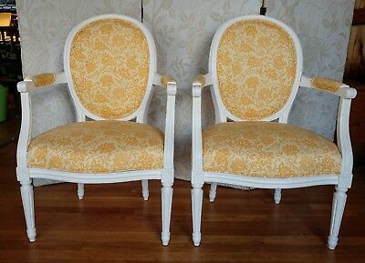 French Louis XVI style medallion back solid oak arm chairs (2)