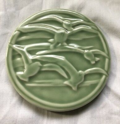 "Antique Green Rookwood Seagull 5 3/4"" Trivet Tile Shape 2351"
