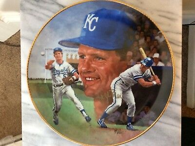 George Brett autographed collectors plate Gartlan RARE limited edition