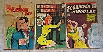 Lot of 3 Comics from 1962 and 1968--Secret Hearts, I Love You, Forbidden Worlds