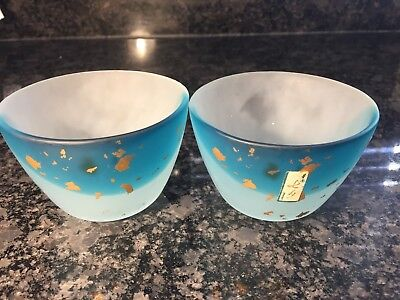 pair of Japanese glass sake cups bowls, blue with gold leaf