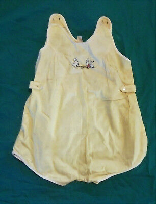Vintage Antique 1940's Jumper  Baby Clothes Romper Sunsuit Hand Embroidered NY