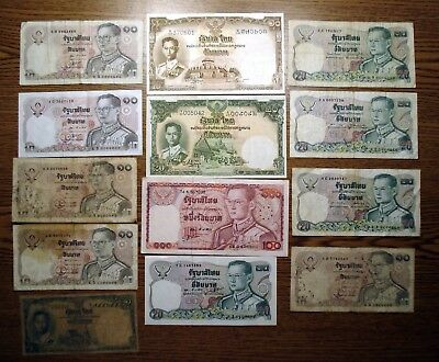 Lot of 13 Banknotes from Thailand