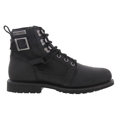 38cde29b619 HARLEY DAVIDSON BOOTS Mens Larry Lace Up Wedge Boot Black Leather ...
