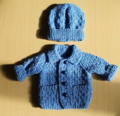 "Hand-Knitted  Premature Baby Boys Jacket & Hat - 12"" chest"