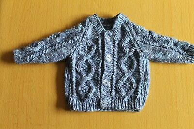 "Hand-Knitted  Premature Baby Boys Cardigan - 12"" chest"