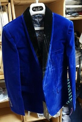 Baby and Boys Velvet Blazer Jacket Royal Blue 1 Year to 15 Year
