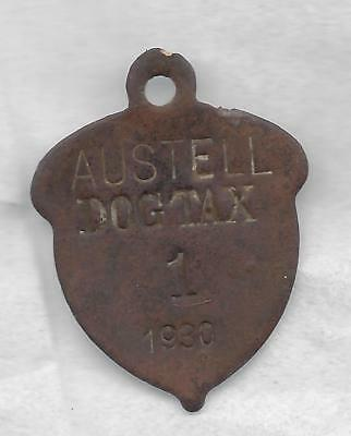 Austell (GA)  1930  dog license tax tag, brass,  #1 !