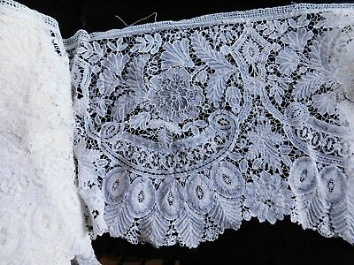 Long Antique Brussels Lace Flounce, 236 Inches X 11 Inches (6 Metres X 28 Cm)