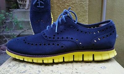 COLE HAAN ZEROGRAND OS Mens 8 M Navy Light Perforated Wingtip Yellow Soles
