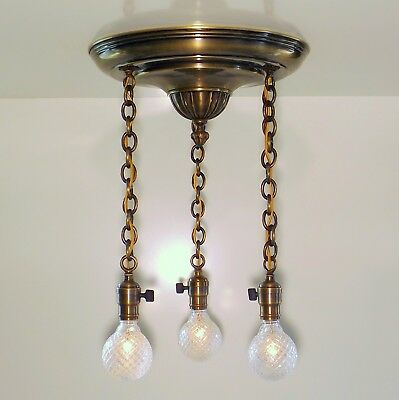 Antique Victorian 3 Light Bronze Chain Chandelier Flush Ceiling Pan Fixture 1910