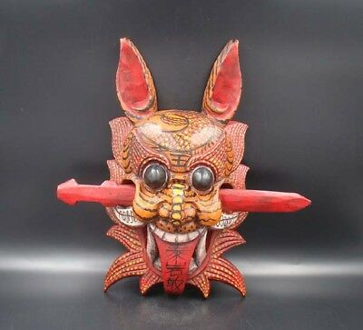 330mm Collectible Handmade Carving Painting colored drawing wood Mask Deco Art