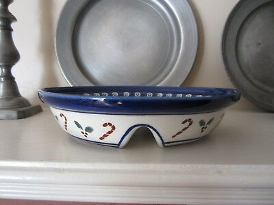 Polish Pottery Boleslawiec Divided Serving Dish Candy Canes Holly Holiday