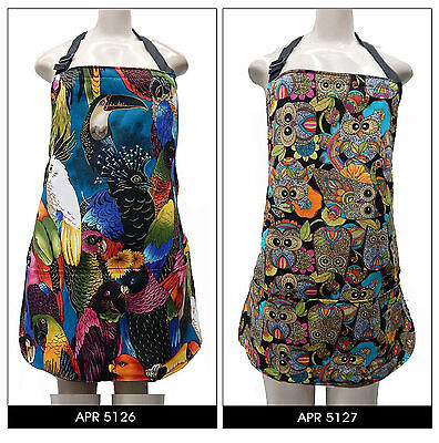 """Us Handmade Reversible Apron With  """"birds  """"  Pattern,  Cotton, New"""