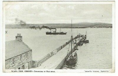 Old Postcard Mail Boat Scapa Pier Orkney Scotland Kirkwall Postmark Used 1913