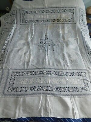 Antique Chinese Linen Embroidery/ Cutwork Cover / Cloth, Dragons, Characters