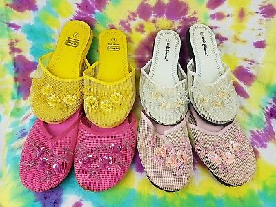 4 Pairs Women's Chinese Mesh Floral Beaded Sequined Slipper Flip Flop size 7