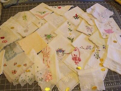 Vintage Hanky Handkerchief lot of 30 white pastel embroidered Switzerland Xmas