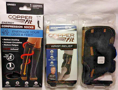 3 Pack Copper Fit Wrist Relief + Energy Compression Socks All Size S/m Free Ship