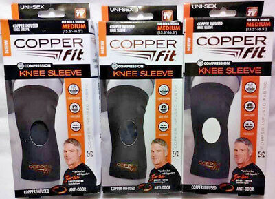 3 Pack Copper Fit Compression Knee Sleeve For Men & Women Size Medium Free Ship