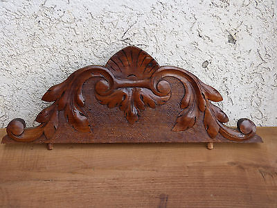 Antique FRENCH WOOD carved PEDIMENT finial plaque panel WALNUT Crest Top 17""