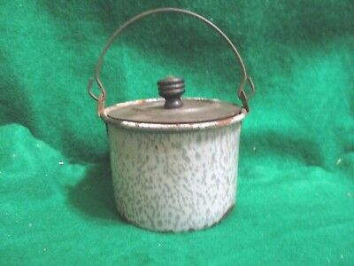 Collectable Granit Lunch Pail  Grey Mottled  W/ Tin Lid  Miniture