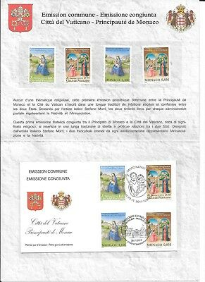 Vatican 2017 Christmas joint issue w/Monaco MNH Folder with FDC