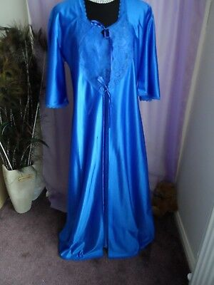 Beautiful Vtg Royal Blue Full Length Nightdress & Matching Robe Sz 10- 12 Bnwot