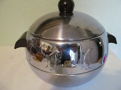 Mid Century vintage West Bend CHROME PENGUIN Server hot cold ICE BUCKET bar