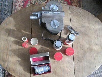 Vintage Bell And Howell 70 Dr 16 Mm Cine Camera With Rare Boxed Angenieux Lenses