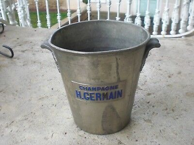 Ancien Seau A Champagne H Germain Argit Metal Argente Grappes De Raisin Deco