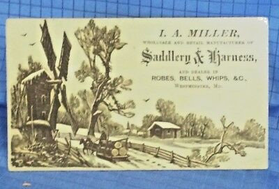 *7P 1900's Trade Card IA Miller Saddlery Harness Westminster MD Horse Sleigh