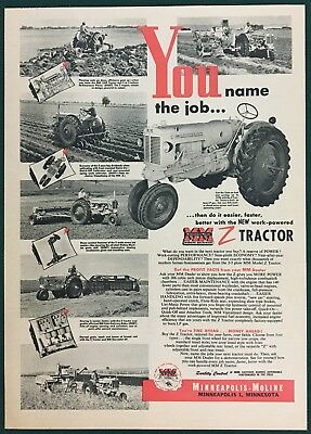 1953 MINNEAPOLIS-MOLINE MODEL Z TRACTOR Large Ad