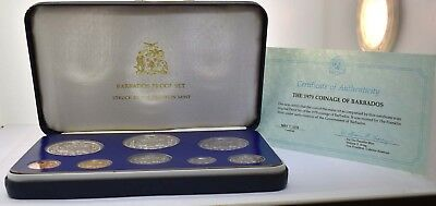 1979 Coinage Of Barbados Silver Proof 8 Coin Set