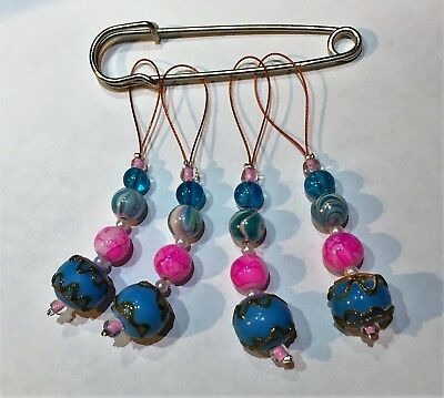Set of 4, 5 or 6 Handmade Snag free Stitch Markers with glass beads